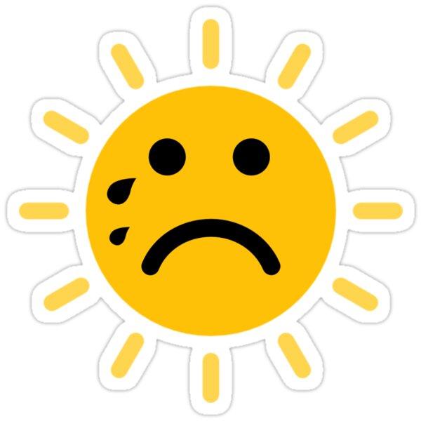 Sad Face Emoji Funny Sun Summer Kids Beach Vacation