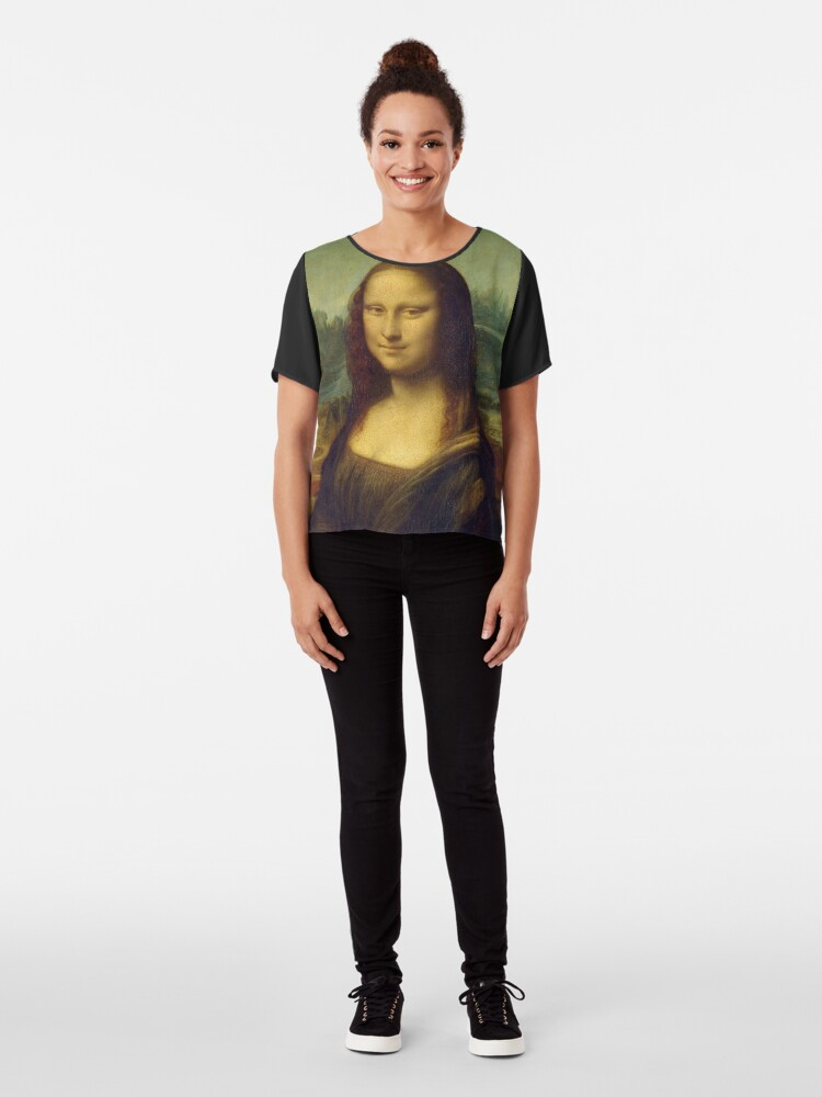 Alternate view of The Mona Lisa is a half-length portrait painting by the Italian Renaissance artist Leonardo da Vinci Chiffon Top