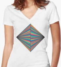Abstract Geometric Pattern Women's Fitted V-Neck T-Shirt