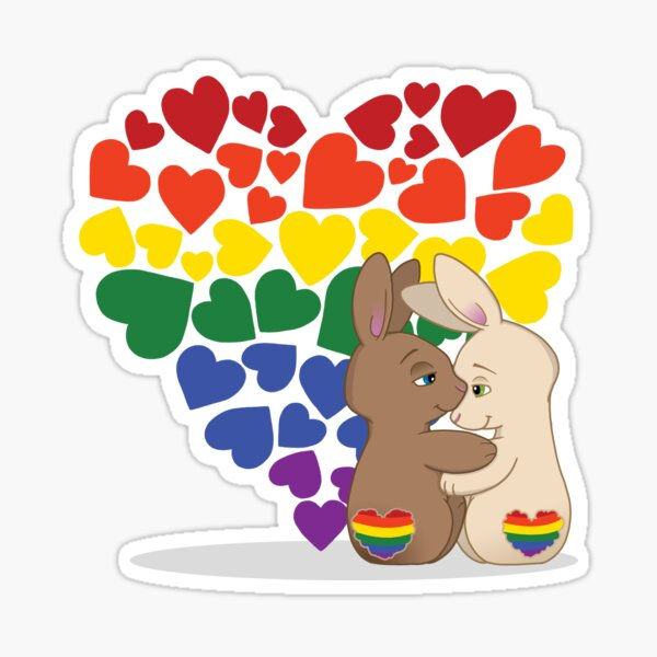 Skip and Pip (aka the Pride Bunnies) Pride 2018 Sticker