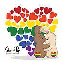 Skip and Pip (aka the Pride Bunnies) Pride 2018 by Catherine Dair