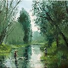 The Last Catch of the Day - River Fishing - Oil Painting - Dusan by Dusan Malobabic
