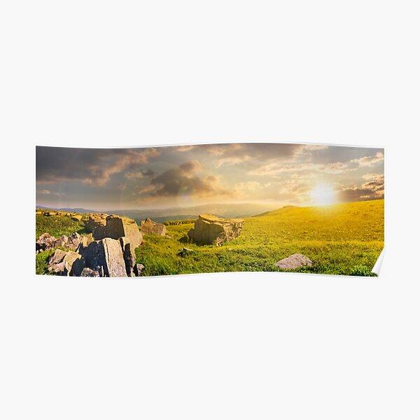 beautiful panorama of Runa mountain at sunset Poster