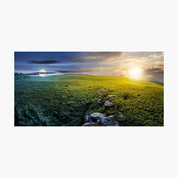 time change concept over panoramic landscape Photographic Print
