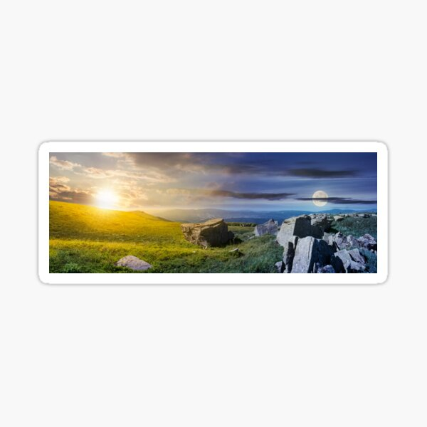 time change over the panorama of Runa mountain Sticker