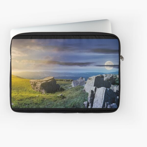 time change over the panorama of Runa mountain Laptop Sleeve
