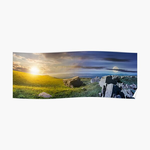 time change over the panorama of Runa mountain Poster