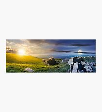 time change over the panorama of Runa mountain Photographic Print