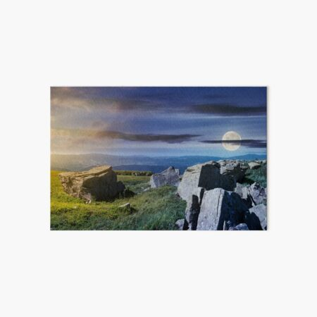 time change over the panorama of Runa mountain Art Board Print