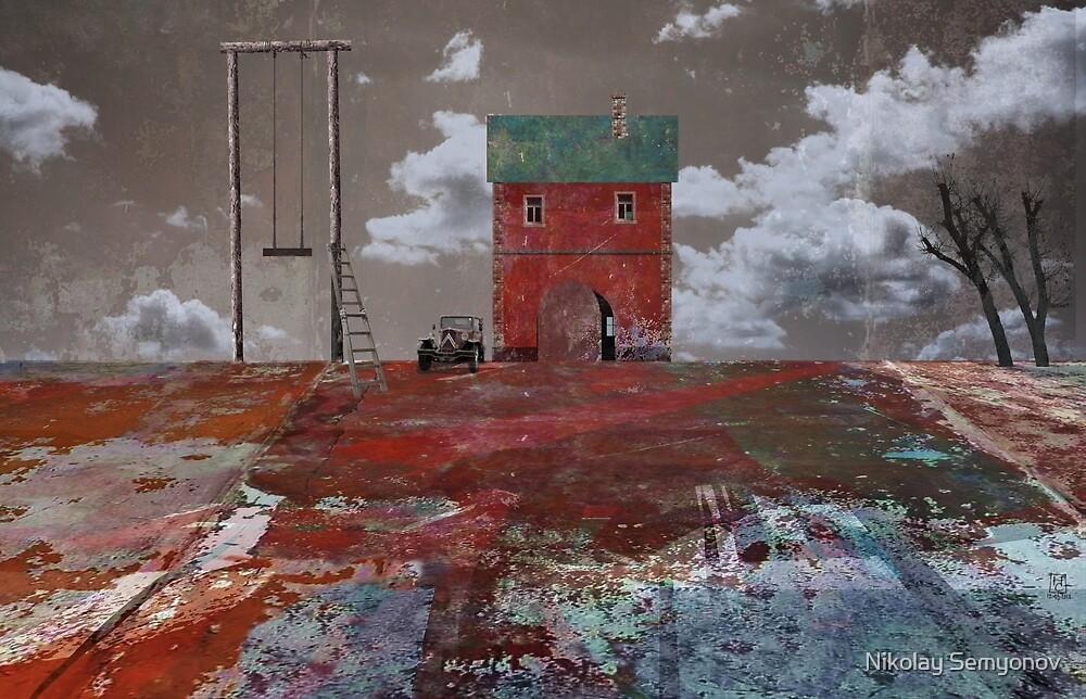 swing. red house. flat land by Nikolay Semyonov