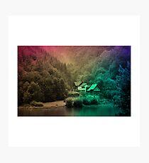 forest house landscape wallpaper Photographic Print