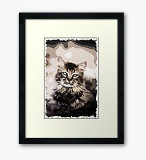 Cat Nature Polygon Art Framed Print