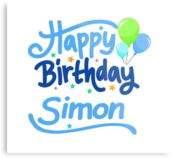Joyeux Anniversaire Simon Impressions Metalliques Par Pm Names