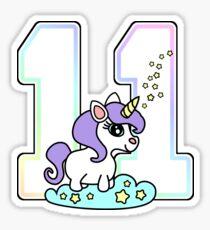 Number 11 cute unicorn rainbow pastel Sticker