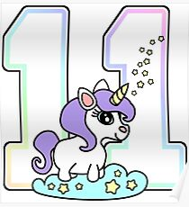 Number 11 cute unicorn rainbow pastel Poster