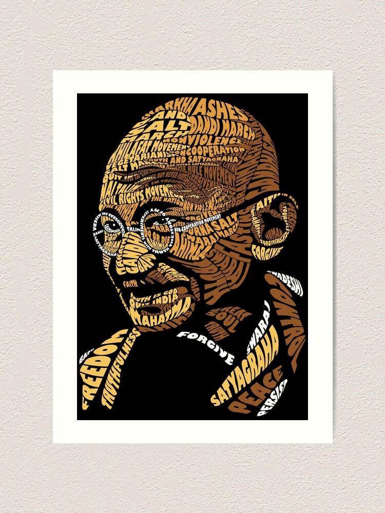 Gandhi Typography Art Print By Sakshamputtu Redbubble
