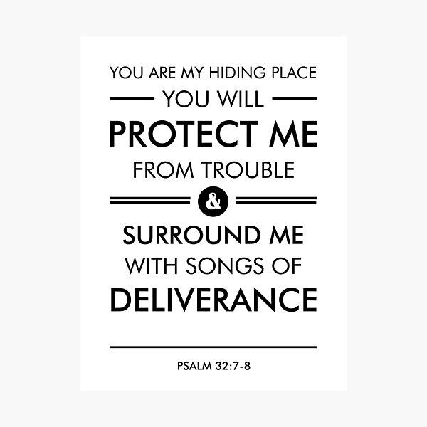 Psalm 32-7-8 - Spiritual Wall Art - Bible Verses Art - Minimalist Scripture 1 Photographic Print