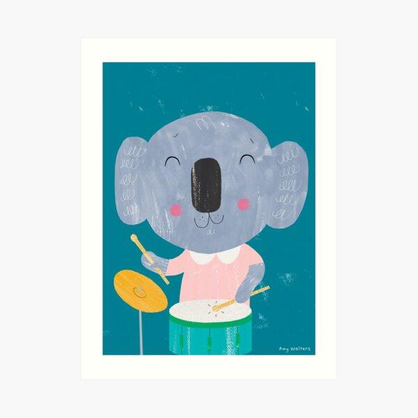 Animal Band - Drumming Koala Art Print
