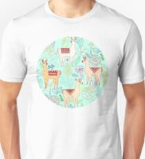 Mexican Llamas on Aqua Unisex T-Shirt