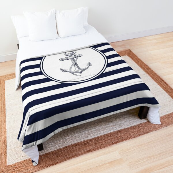 Anchor and Navy Blue Stripes Comforter