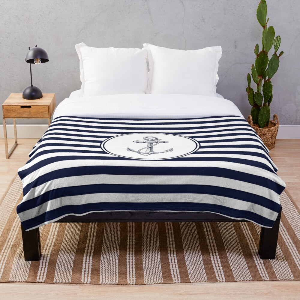 Anchor and Navy Blue Stripes Throw Blanket