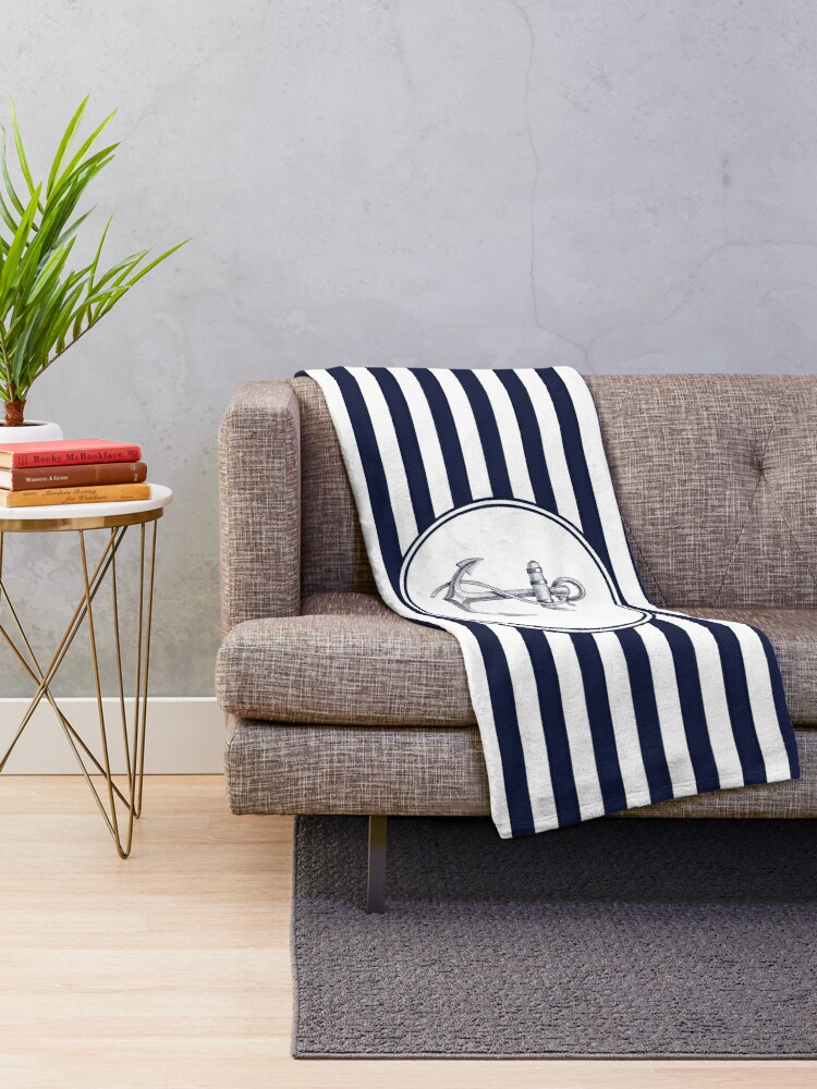 Alternate view of Anchor and Navy Blue Stripes Throw Blanket