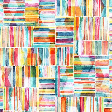 Summer Pastel Geometric and Striped Abstract on white by micklyn