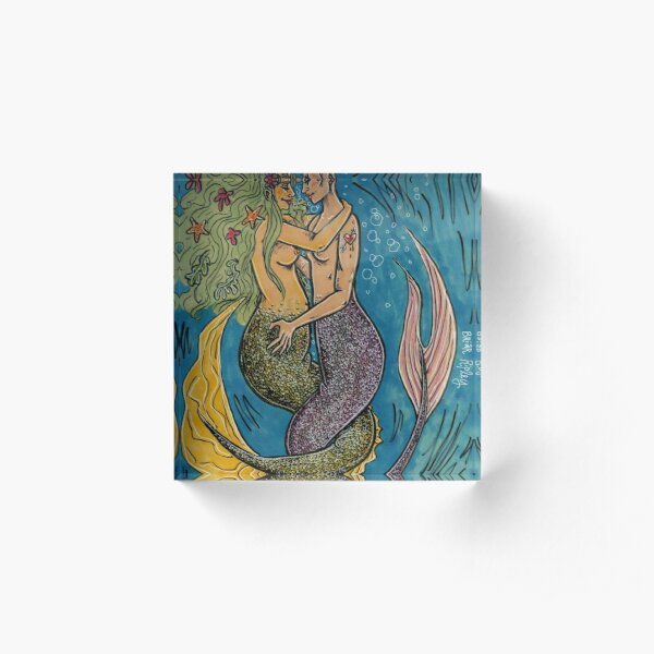 pride month mermaids Acrylic Block