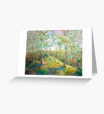 Girl in the Woods in the style of Renoir Greeting Card