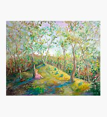 Girl in the Woods in the style of Renoir Photographic Print