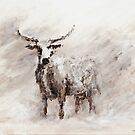 Exmoor Cow in Blizzard by wetherellart