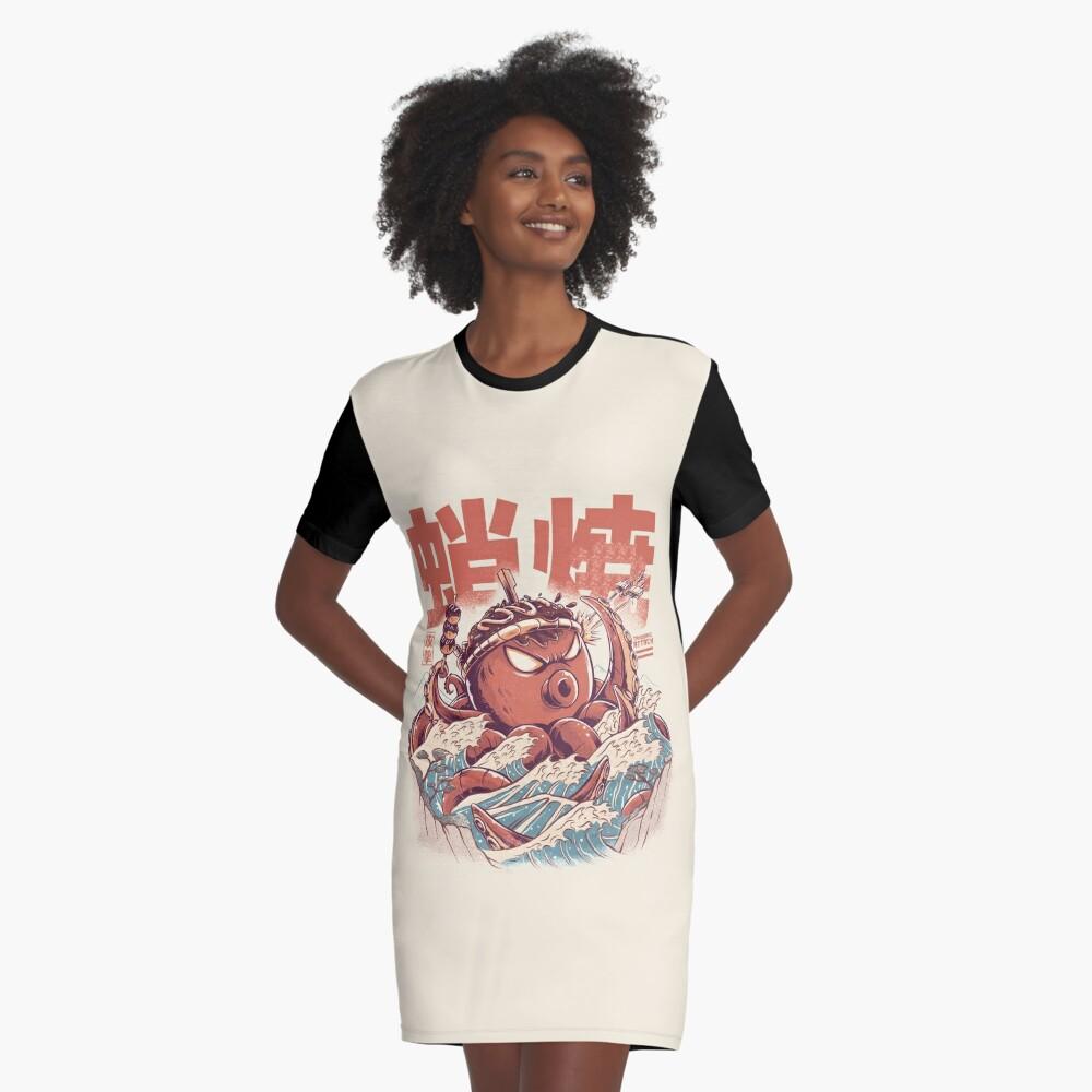 Takoyaki Angriff T-Shirt Kleid Vorne