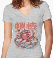 Takoyaki Attack Women's Fitted V-Neck T-Shirt