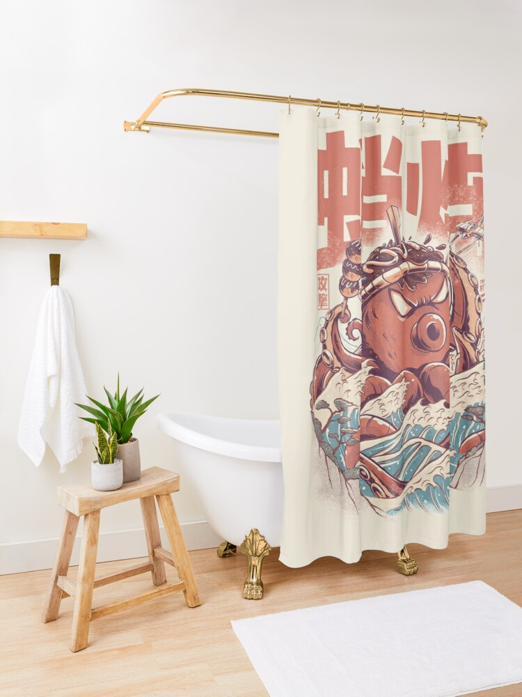 Alternate view of Takoyaki Attack Shower Curtain