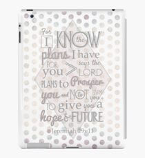 Quirky Modern Bible Verse, Jeremiah 29 verse 11 'For I know the plans I have for you says the lord. Plans to prosper you and not to harm you. To give you a hope and a future' Patterned, Scripture art. iPad Case/Skin