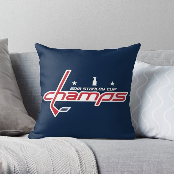 Washington Capitals 2018 Stanley Cup Champs in Caps font Throw Pillow