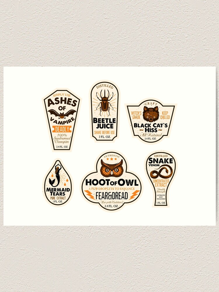 Halloween Bottle Labels Potion Labels Art Print By Moloko88 Redbubble