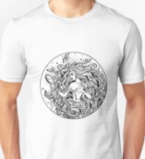 Beautiful girl with fairytale magic mirror and long hair. Unisex T-Shirt