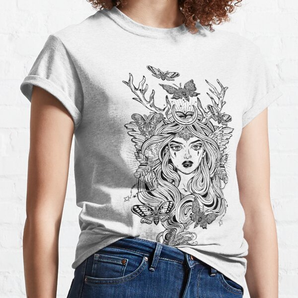 Shaman elf magic woman with deer antlers and long hair, nightn moths and butterflies. Classic T-Shirt