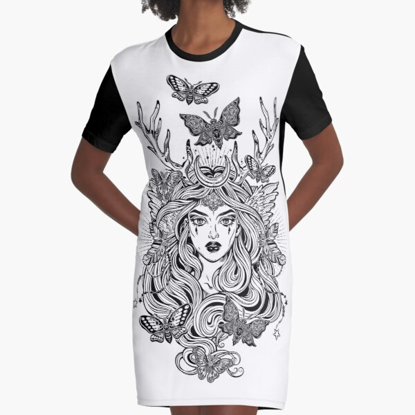 Shaman elf magic woman with deer antlers and long hair, nightn moths and butterflies. Graphic T-Shirt Dress