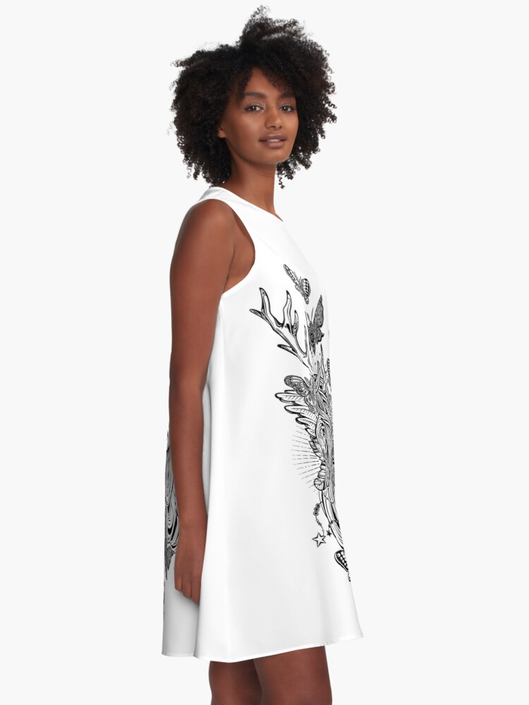 Alternate view of Shaman elf magic woman with deer antlers and long hair, nightn moths and butterflies. A-Line Dress