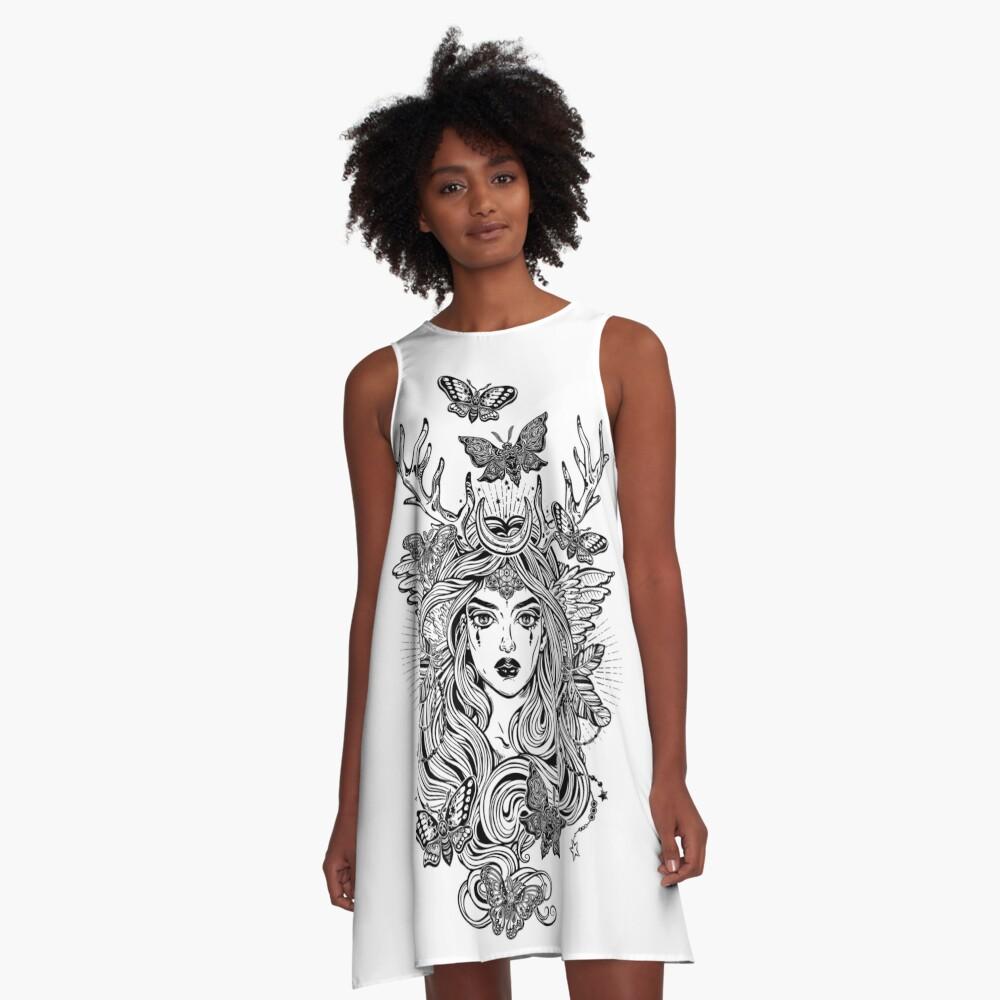 Shaman elf magic woman with deer antlers and long hair, nightn moths and butterflies. A-Line Dress