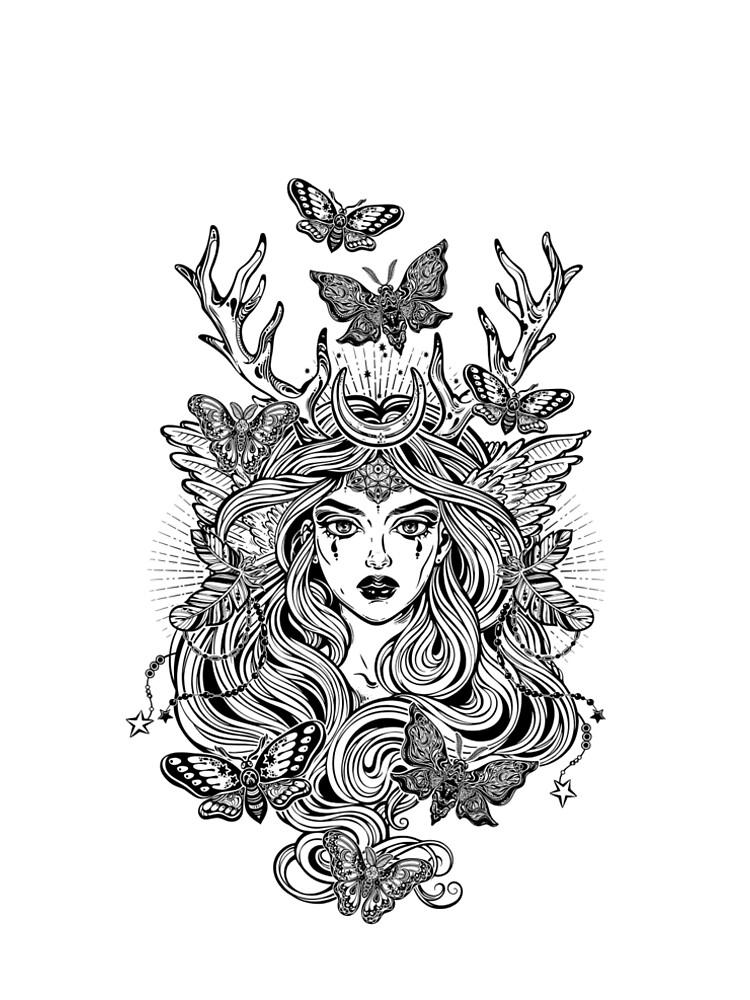 Shaman elf magic woman with deer antlers and long hair, nightn moths and butterflies. by KatjaGerasimova