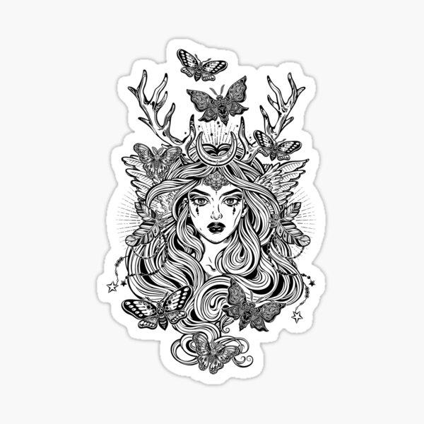 Shaman elf magic woman with deer antlers and long hair, nightn moths and butterflies. Sticker