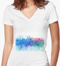 London England Skyline - Colorful Impressionist Splash Women's Fitted V-Neck T-Shirt