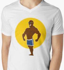muscular man posing. Men's V-Neck T-Shirt