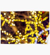 Abstract defocused colour lights in a dark black night Poster