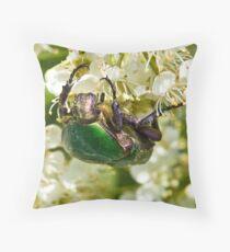 Green Beetle 2 Throw Pillow