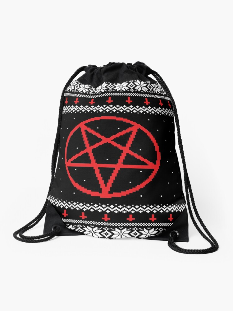 Satanic Christmas Sweater.Satanic Pentagram Ugly Christmas Sweater Drawstring Bag