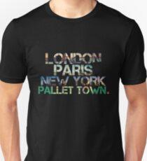 London. Paris. New York. Pallet Town. Unisex T-Shirt